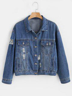 Distressed Lace Up Jeansjacke - Denim Dunkelblau S