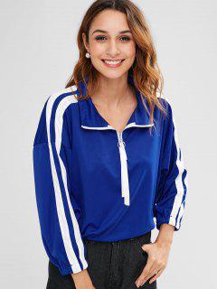 Pullover Striped Sweatshirt With Half Zipper - Blue M