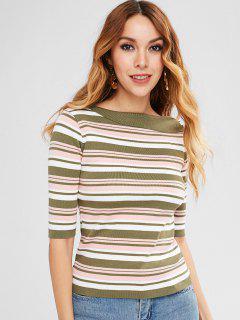 Slimming Striped Sweater - Multi