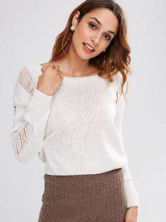 Ripped Crop Sweater - Beige