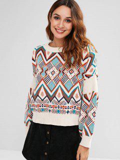 Geometric Jacquard Knit Oversized Sweater - Multi