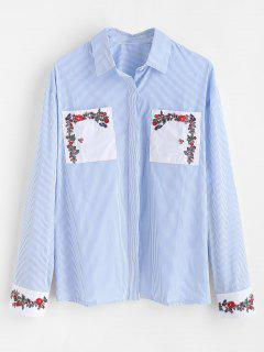 Floral Embroidered Striped Patch Pocket Shirt - Light Blue M