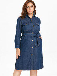 Plus Size Button Up Denim Shirt Dress - Denim Dark Blue 2x