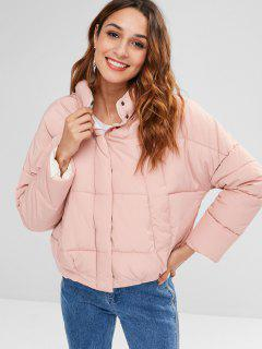 Drop Shoulder Zipper Padded Coat - Pig Pink L