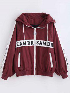 Drawstring Zip Up Hooded Jacket - Red Wine