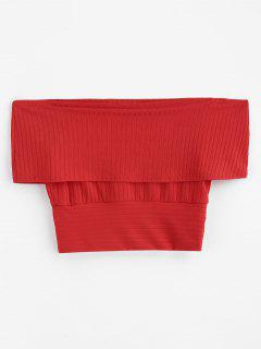 ZAFUL Off Shoulder Fold Over Tricot De Punto - Rojo L