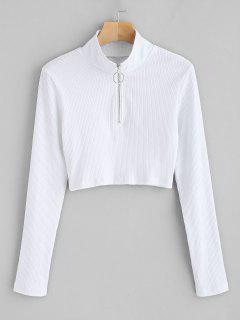ZAFUL Half Zipper Cropped Ribbed Knit Top - White M