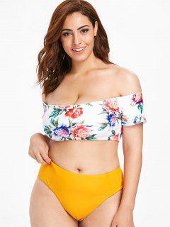 ZAFUL Plus Size Flower Off Shoulder Bikini Set - Bee Yellow 1x