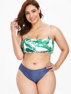 ZAFUL Plus Size Denim Leaves Print Bikini Set - Multi 2x