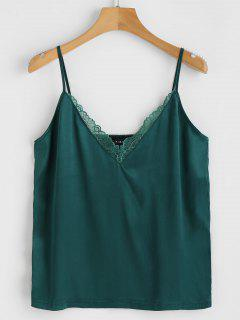 ZAFUL Panel De Encaje Satinado Cami Top - Verde Oscuro L