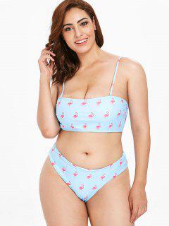 ZAFUL Plus Size Flamingo Tube Bikini Set - Light Sky Blue L