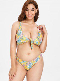ZAFUL Plus Size Knotted Flower Bikini Set - Bright Yellow 1x