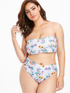 ZAFUL Plus Size Gestreiftes Blumen Bikini Set - Multi 3x