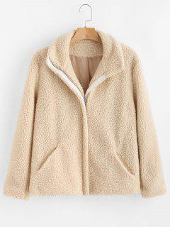ZAFUL Zip Up Faux Fur Coat - Warm White S