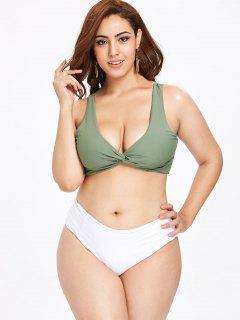 ZAFUL Twisted Plus Size Farbblock Bikini Set - Meergrün 3x