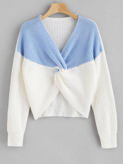 ZAFUL Two Tone Twist Chunky Sweater - Sky Blue