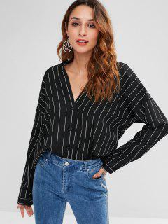 Loose Fit Striped High Low Blouse - Black S