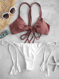 ZAFUL Bikini Con Tiras En Dos Tonos, Conjunto De Bikini - Castaña S