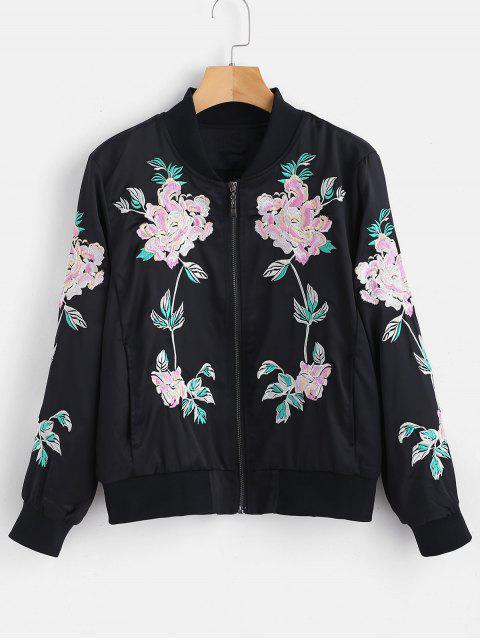 Veste à glissière brodée de fleurs - Noir L Mobile