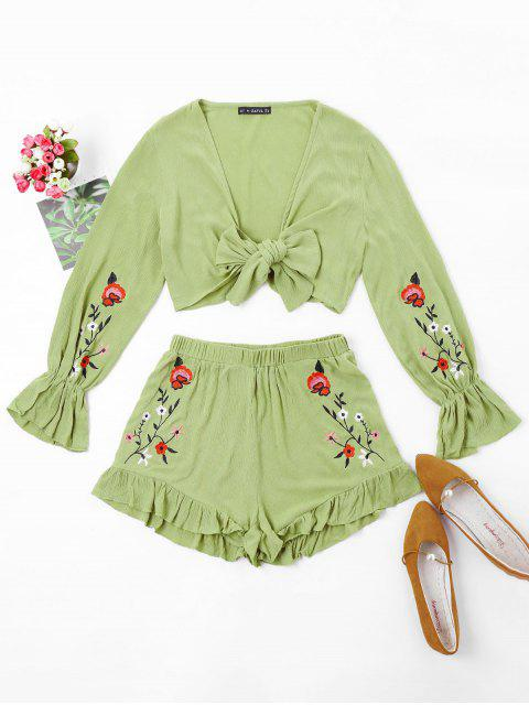 hot ZAFUL Floral Embroidered Top and Shorts Set - AVOCADO GREEN XL Mobile
