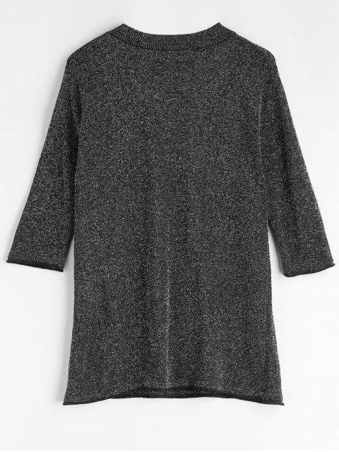 women's Lace Up Glittering Choker T-Shirt - BLACK L Mobile