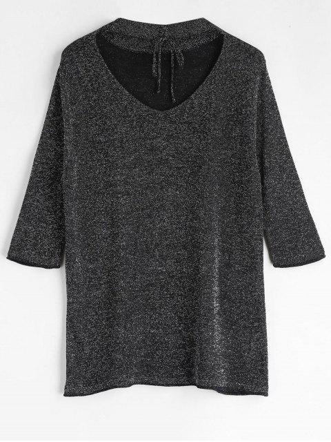 T-shirt Ras-du-cou Pailletté à Lacets - Noir M Mobile