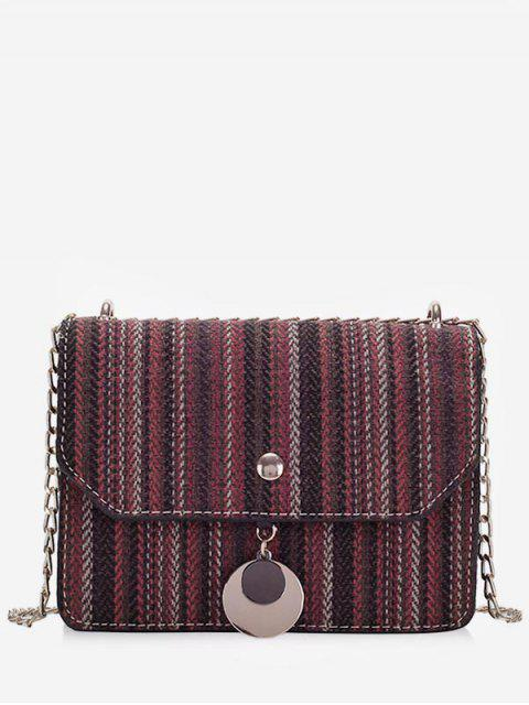 trendy Striped Canvas Chain Crossbody Bag - RED WINE  Mobile