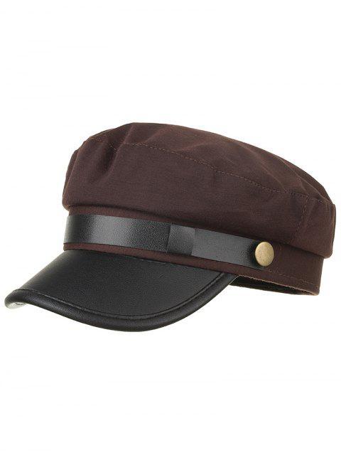 Sombrero de ejército de cuero PU color sólido - Café  Mobile