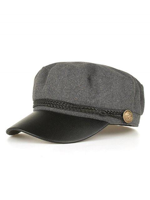 new PU Leather Braided Band Military Hat - GRAY  Mobile