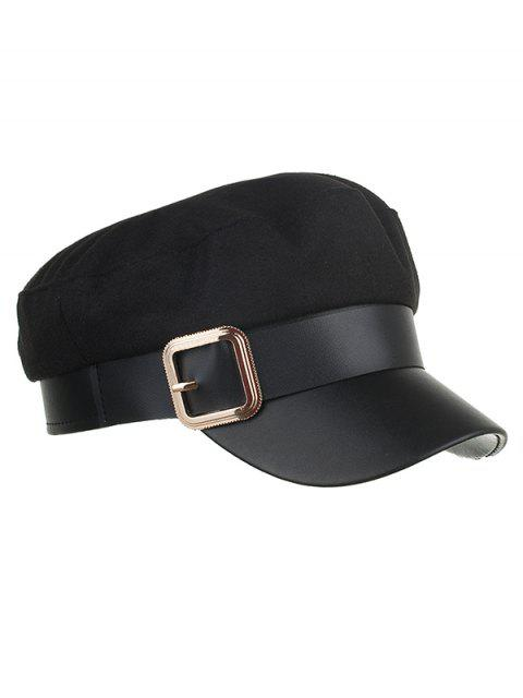 hot Vintage Square Buckle Flat Top Hat - BLACK  Mobile