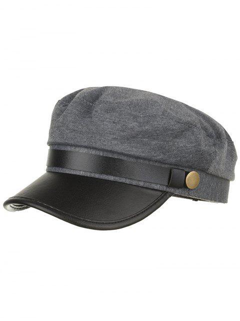 Chapeau d'armée en cuir PU couleur unie - Gris  Mobile