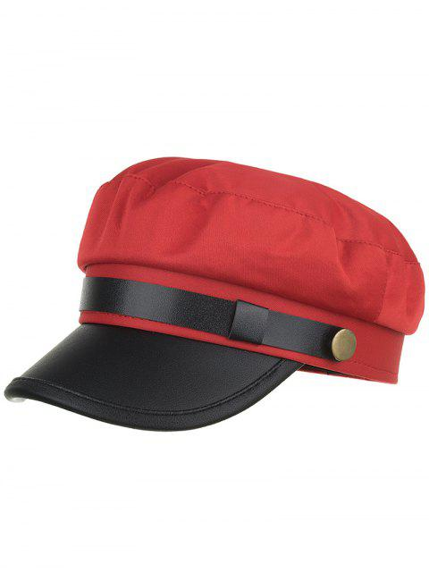 shops Solid Color PU Leather Army Hat - RED  Mobile