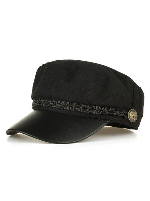 fancy PU Leather Braided Band Military Hat - BLACK  Mobile