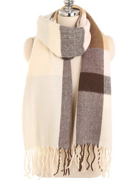 Vintage color empalme invierno largo bufanda - Beige  Mobile