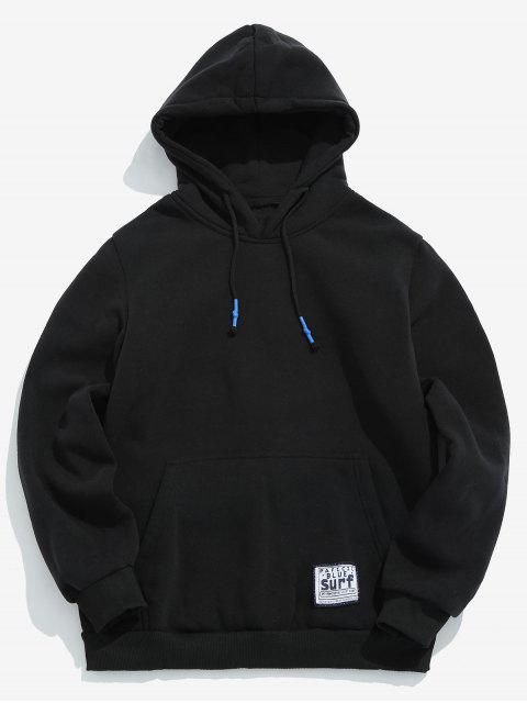 unique Solid Pouch Pocket Fleece Hoodie - BLACK XL Mobile