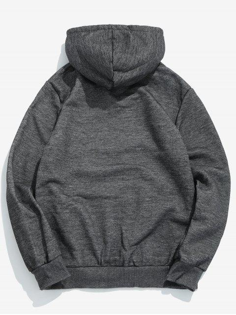 lady Solid Pouch Pocket Fleece Hoodie - DARK GRAY M Mobile