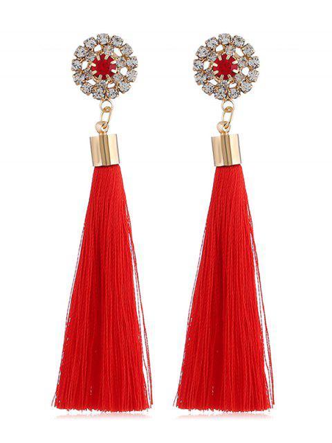 Sparkly Rhinestone Long Tassel Elegant Earrings - Rojo  Mobile