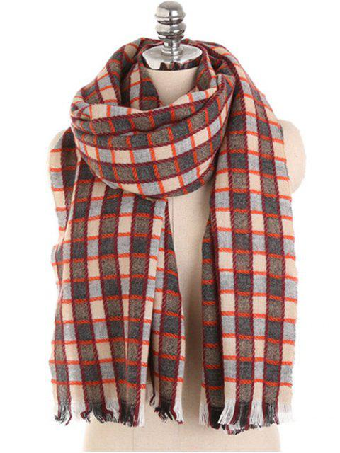 shop Checked Pattern Fringed Winter Scarf - RED WINE  Mobile