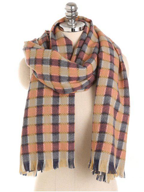 trendy Checked Pattern Fringed Winter Scarf - MULTI  Mobile