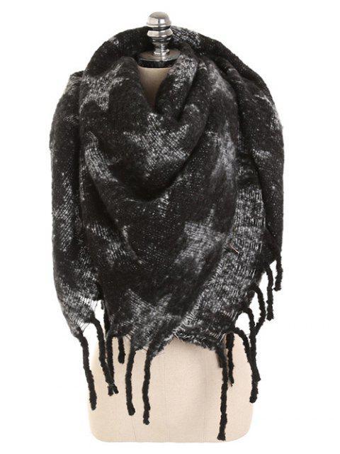 Bufanda larga con flecos de estrella de invierno - Negro  Mobile