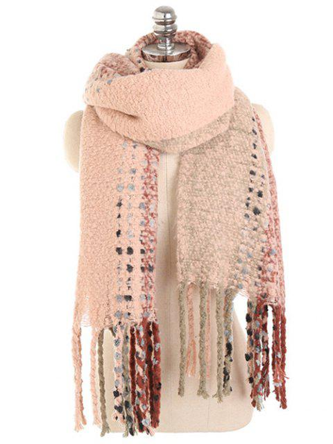 buy Vintage Long Fringed Winter Shawl Scarf - DEEP PEACH  Mobile