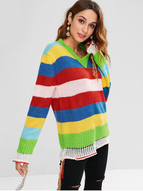 lady Colorful Striped Tassel Sweater - MULTI ONE SIZE Mobile