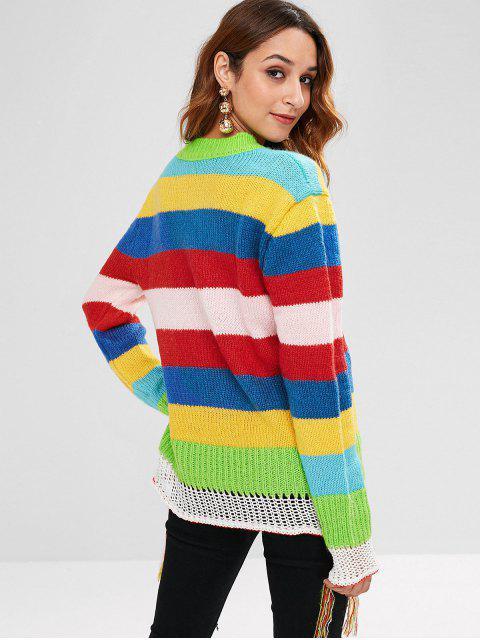 Bunter Gestreifter Quaste Pullover - Multi Eine Größe Mobile