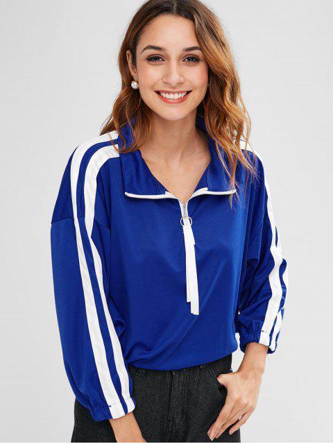 women's Pullover Striped Sweatshirt with Half Zipper - BLUE L Mobile