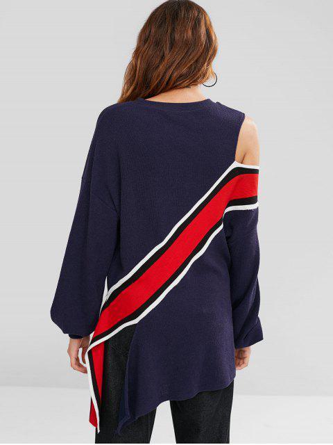 women's ZAFUL Cold Shoulder Striped Asymmetric Tee - DEEP BLUE S Mobile