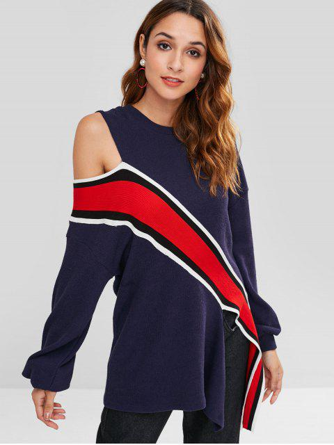 new ZAFUL Cold Shoulder Striped Asymmetric Tee - DEEP BLUE L Mobile