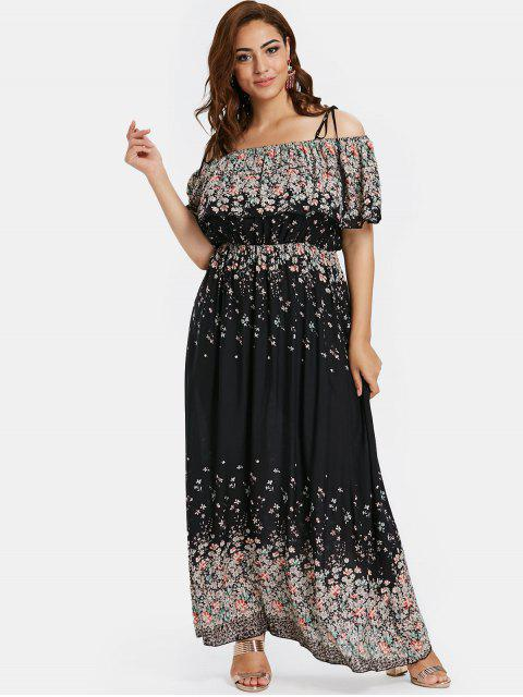 outfit ZAFUL Plus Size Floral Maxi Cami Dress - BLACK L Mobile