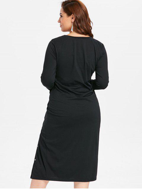 ladies ZAFUL Plus Size Slit Long Sleeve Tee Dress - BLACK 1X Mobile