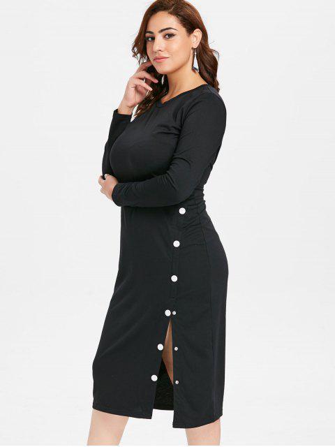 new ZAFUL Plus Size Slit Long Sleeve Tee Dress - BLACK L Mobile