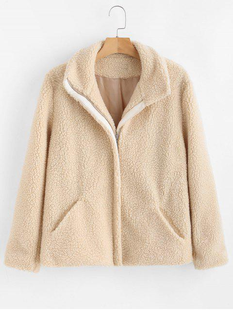 ZAFUL Zip Up Faux Fur Coat - Blanco Cálido L Mobile